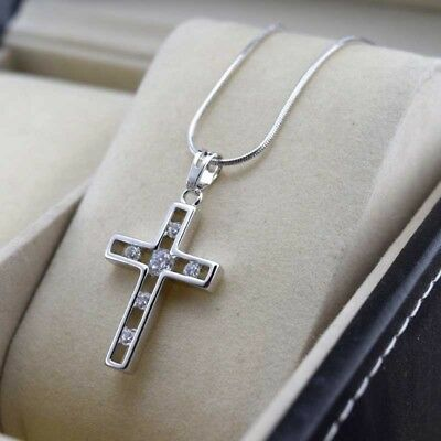 """18k Yellow Gold Filled Necklace Cross Jesus Pendant 18/""""Chain Link GFJewelry Cool"""