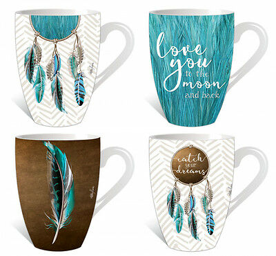 Set of 4 Kelly Lane Mugs Dreamcatcher- Blue Feather Love You to The Moon & Back