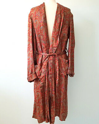 Vintage Brooks Brothers Made in England Long Robe Wrap Burgundy Paisley AS IS