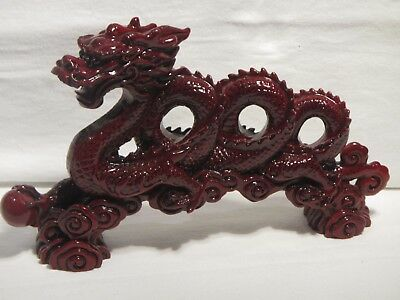 Beautiful Red Chinese Dragon Figurine Feng Shui Coiled Serpentine Success Luck