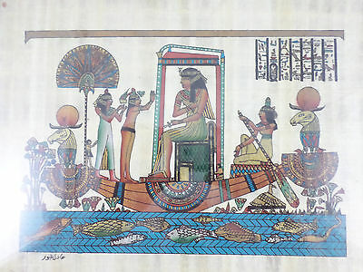 "Framed Egyptian Papyrus Queen in Boat Goddesses Isis - Signed - 12"" X 9"""