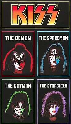 KISS Rock Band Legends Deman Spaceman CatMan Starchild Fabric Panel Just IN