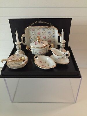 Dollhouse Miniatures Reutter Porcelain Crosshatch Soup for Two, New, 1:12