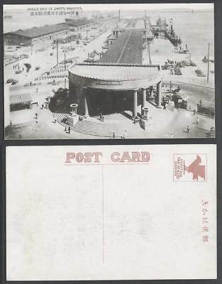 China Old Postcard Bird's Eye View Wharves Dairen Port Steamers Ships Wharf Pier
