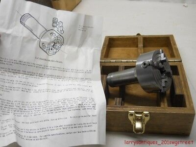 """~Nice~ Machinist 5C Collet 3"""" Precision 4 Jaw Chuck W/ Wood Case (Nr)"""