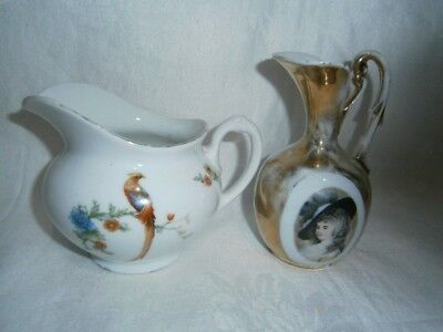 2 Vintage Collectable Jugs - Pheasant Cream Jug - Lady Portrait Ornamental Jug