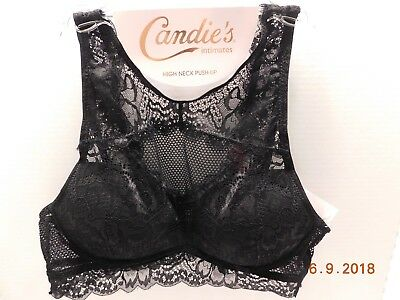108c04ebb17802 CANDIE S Juniors Lace Bra Size Medium Black Tie Wire Free ZZ74B371R NWT