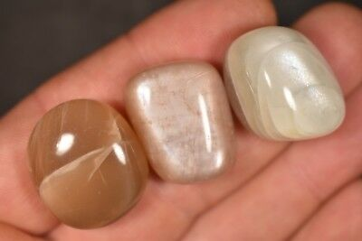 3 MOONSTONE TUMBLED STONES 33g Healing Crystals, Inner Growth Strength
