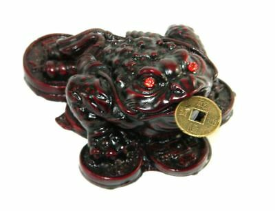 New 70mm Asian Fortune Frog Red Resin Figurine Chinese Coins Feng Shui Statue