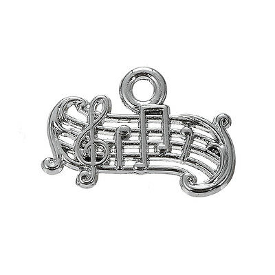 30pcs Music Note Jewelry Musical Notation Tibetan Silver Charms Music Pendant