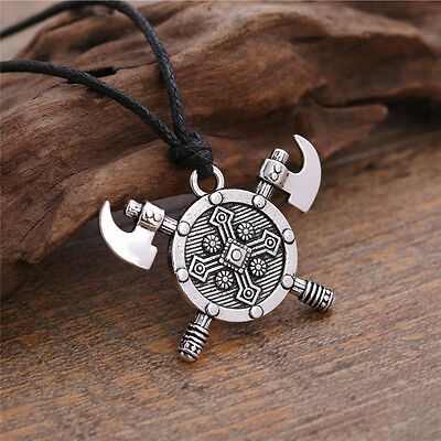 Viking Axe Gladiator Medieval God Jewelry Mens Cross Gothic Necklace Vintage