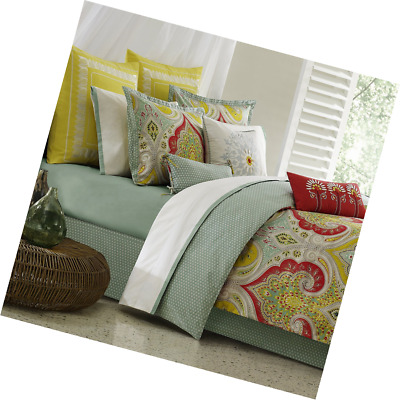 Echo Design Jaipur Comforter Set Queen Size Aqua Yellow Red