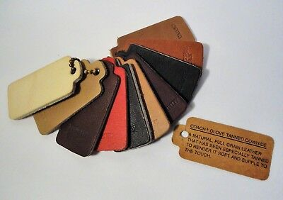 Vintage Coach Leather Sample Swatches - 10 Swatches/Colors w/Tag