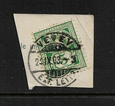 SWITZERLAND 1882 Numerals, 5c, Vevey postmark on piece, 1903 cancel