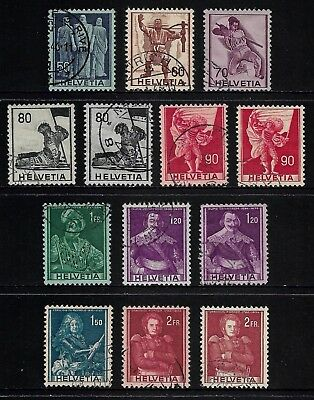 SWITZERLAND 1941 Historical Designs, Definitives, incl coloured papers, used set