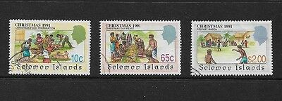 SOLOMON ISLANDS - 1991 Christmas, 3 from 4, used