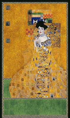 Gustav Klimt Portrait Adele Bloch-Bauer Fabric Panel  Gold Metall Robert Kaufman