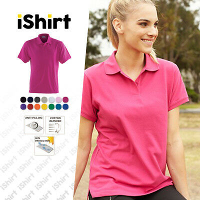Ladies Polo Shirt Poly Cotton Plain Colour Semi Fitted Antipill Basic Polo