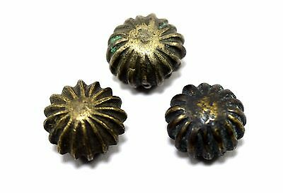 Lot Of 3 Antique Melon Shape Bell Metal Miniature Bronze Weight Scales. G15-140
