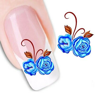 Nail Art Water Decals Transfers Stickers Blue Roses (XF1185)