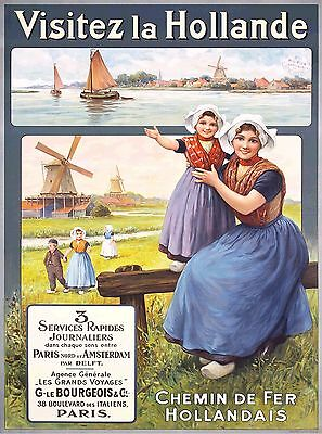 Visitez Visit Holland Dutch Netherlands Vintage Travel Advertisement Poster