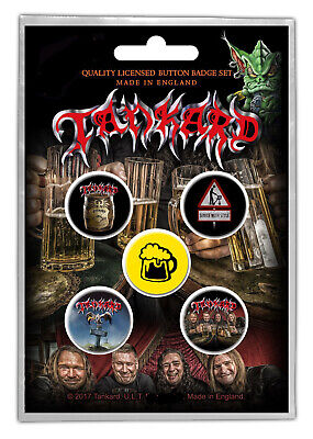 Tankard One Foot Button Badge Pack Official Thrash Metal Button Badges Set