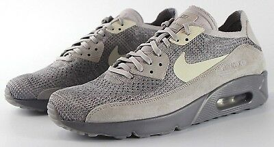 NIKE AIR MAX 90 Ultra 2.0 Flyknit Atmosphere Grey 875943 007 New Mens Msrp $160