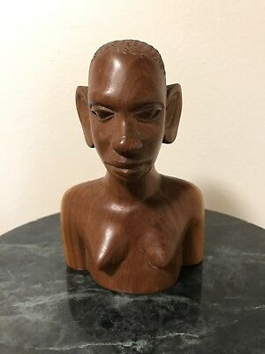 """Vintage hand carved wood African tribal woman head, bust 6 1/2"""""""