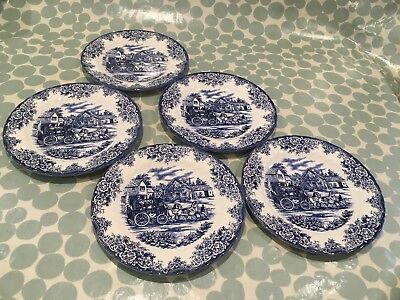 5 Vintage Blue/ White Dinner plates,probably Royal Stafford,with coaching scene