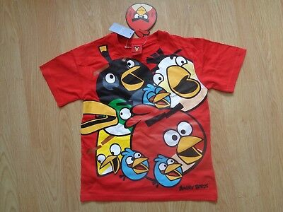 Boys Angry Bird T-Shirt Age 5/6 7/8 Years -Red- Pattern To Front -New Uk Seller