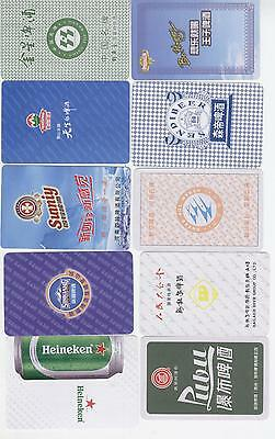 China 20 Single Playing Cards of Beer Ad.