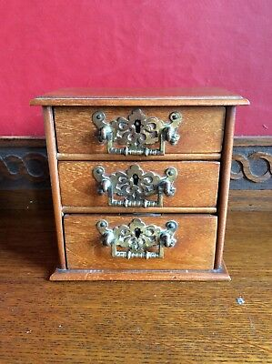 Antique Apprentice Piece Art Nouveau Chest Of Drawers With Locks And Key