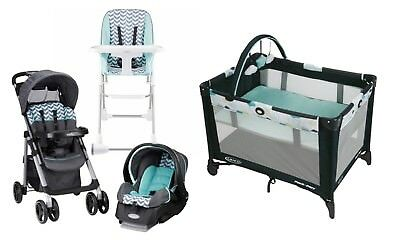 Baby Stroller Car Seat  Infant High Chair Playard Crib Travel System Combo Set