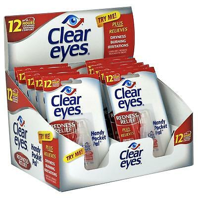 12 Pack BOX CLEAR EYES DROPS REDNESS RELIEF X6 PACKS 0.2 OZ .6 ML