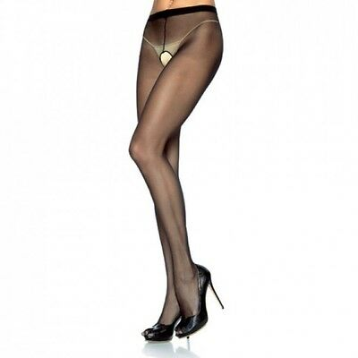 Collant Velato  Aperto Plus Size Hosiery Sheer Crotchless Black Xl