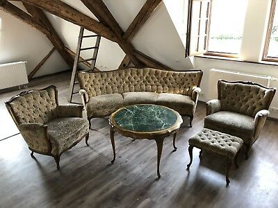 Vintage Rokoko Barock Chippendale Chesterfield Couch Sofa  Sessel Marmortisch