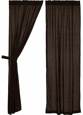"84"" Long Burlap Chocolate Brown Cotton Rustic Country Window Curtains Tie Backs"