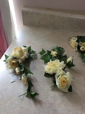 Home Interior / Homco Set Of 3 Beautiful Yellow Roses  Flower Candle Rings