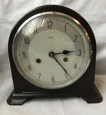 Smiths Enfield Bakelite Mantel Clock - Good Working Order With Key & Pendulum