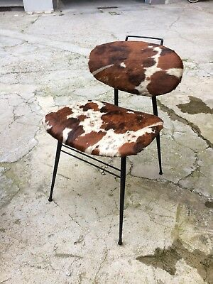Molded Plywood Chair Eames Style Cow Leather 1950/60