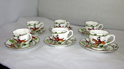 6 Crown Staffordshire Hunting Scene Scalloped Edge Demitasse Cups & Saucers