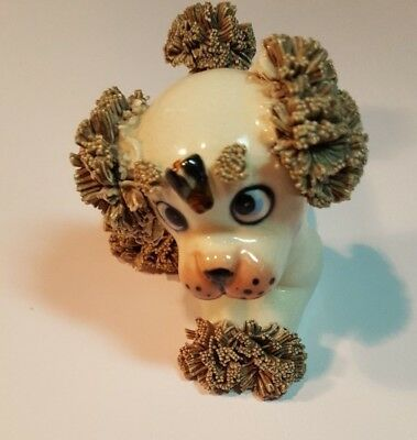 Adorable Vintage Lefton Japan Spaghetti Trim Poodle Puppy Dog With Fly Figurine