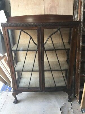 Antique Edwardian China Display Cabinet Claw Feet Vintage