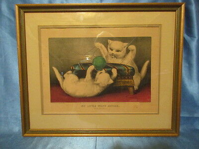 "9110 – MY LITTLE WHITE KITTIES ~ ""PLAYING BALL"" ~ CURRIER & IVES 1870 ~ Original"