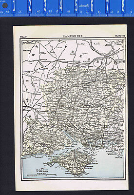 Hampshire & Ilse of Wright, England - Map Print -- 1907