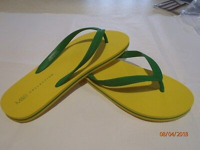 M&S 'Collection' Mens White/red trim flip flops  new with tags UK size 10-11
