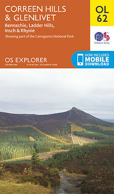 CORREEN HILLS & GLENLIVET Map - OL 62  OS Ordnance Survey - INC. MOBILE DOWNLOAD