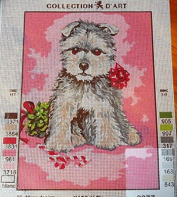 PUPPY WEARING RIBBON - Tapestry/Needlepoint to Stitch (NEW) by COLLECTION D'ART