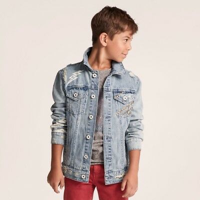Art Class Boys' Blue Jean Distressed Denim Trucker Jacket 4-5 XS, 8-10 M, 16 XL