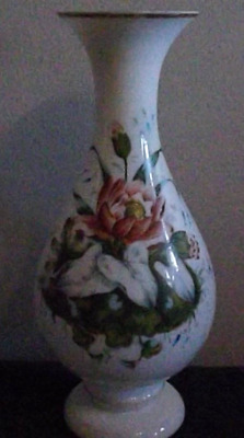 19th Century Tall Milk Glass Vase Beautifully Hand Painted Floral FREE SHIPPING!